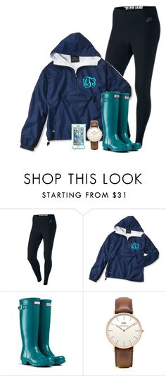 """""""Someone stole my rain jacket  and it's pouring outside"""" by madelyn-abigail ❤ liked on Polyvore featuring NIKE, Hunter, Topshop and LifeProof"""