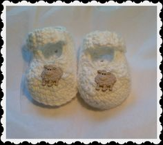Counting Sheep Baby Mary Jane Slippers Booties Handmade Crochet Newborn by HaldaneCreations on Etsy
