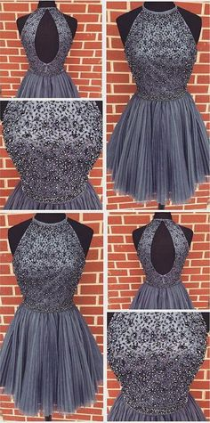 High Neck Prom Dresses #HighNeckPromDresses, Short Prom Dresses #ShortPromDresses, Short Homecoming Dresses #ShortHomecomingDresses, High Neck Homecoming Dresses #HighNeckHomecomingDresses, Cute Homecoming Dresses #CuteHomecomingDresses, Grey Homecoming Dresses #GreyHomecomingDresses