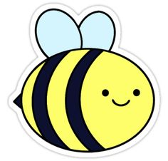 Drawing Doodles Ideas Cute Bee Sticker - A sweet little fuzz friend. Save the bees! Cute Easy Drawings, Cute Kawaii Drawings, Cartoon Drawings, Kawaii Doodles, Kawaii Stickers, Cool Stickers, Printable Stickers, Bee Drawing, Cartoon Bee