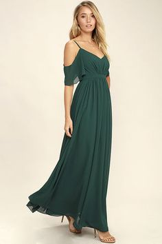 If you fancy a twirl in something spectacular, slip into the Ways of Desire Dark Green Maxi Dress! Woven poly forms a lightly pleated triangle bodice supported by spaghetti straps and fluttering sleeves. A banded waist gives way to a cascading maxi skirt. Sexy Dresses, Evening Dresses, Prom Dresses, Formal Dresses, Club Dresses, Long Dresses, Sparkly Outfits, Green Maxi, Dark Green Dresses