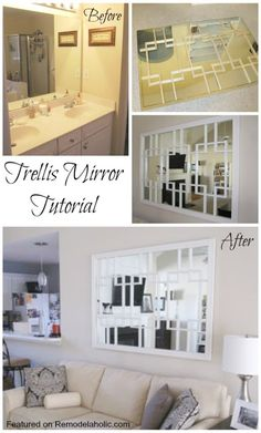 Build a Trellis Mirror from an old bathroom mirror Tutorial
