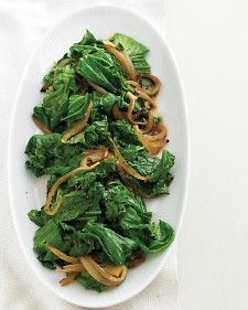Mustard Greens and Sweet-Onion Saute - Everyday Food  Sharply flavored and nutritionally rich mustard greens are best served sauteed.