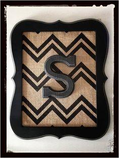Home Decor Framed Wooden Letter w/ Burlap