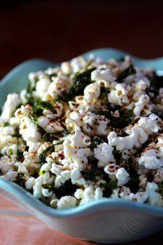 K-POP {Korean Popcorn} Fresh Popped Corn, Sesame Oil, Gochugaru, Sesame Seeds, Korean Roasted Sea Salt, Seasoned Seaweed