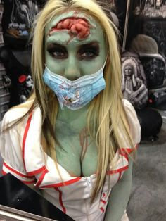 Wicked zombie makeup!  I love the exposed brain.