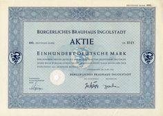 Bürgerliches Brauhaus Aktie 100 DM 1954