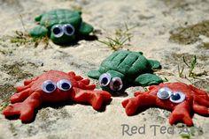 Seaside inspiration? Make cute little crab and turtle fridge magnets (I do like a practical craft!)