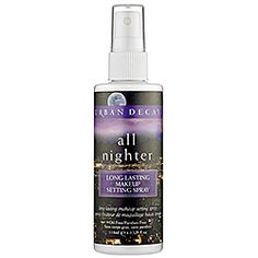 Urban Decay - All Nighter Long-Lasting Makeup Setting Spray 1) spray liberally after finishing makeup 2) put face in front of a fan to dry completely You're set all day ad night! I tested for a wedding and my makeup was picture perfect from pictures thru reception and after party