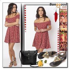 Bohemian Dress by Banggood 1/20 by esma178 ❤ liked on Polyvore