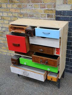 Compact cabinet with a selection of reclaimed drawers. Last of the current series in this size.  created by: Rupert Blanchard  origin: UK