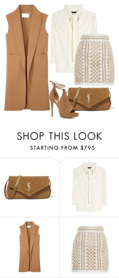 """""""BROWN"""" by gunesokut ❤ liked on Polyvore featuring Yves Saint Laurent, The Row, Alexander Wang, Balmain and ALDO"""