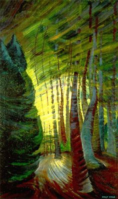 Emily Carr: Sombreness Sunlit, Canadian Group of Seven Tom Thomson, Canadian Painters, Canadian Artists, Landscape Art, Landscape Paintings, Emily Carr Paintings, Group Of Seven, Illustration, Impressionist Paintings