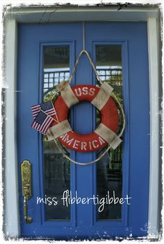 Here are over 40 gorgeous patriotic DIY dollar store of July Wreaths that are the perfect addition to your front door for Independence Day. Patriotic Wreath, Patriotic Decorations, 4th Of July Wreath, Patriotic Crafts, God Bless America, Memorial Day Flag, Uss America, American Flag Wreath, Wreath Tutorial