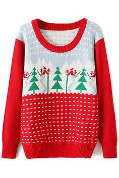 Chic Christmas-Inspired Tree Print Sweater