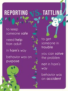 Reporting vs. Tattling poster...wish more teachers followed this protocol