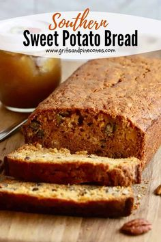 Easy Southern Sweet Potato Bread with Pecans is the ultimate quick bread! It's moist, flavorful, and loaded with sweet potatoes and crunchy pecans. Tasty sweet potato bread is the height of quick bread perfection, and trying to resist a slice is futile! Sweet Potato Souffle, Sweet Potato Pecan, Sweet Potato Hash, Sweet Potato Recipes, Moist Sweet Potato Bread Recipe, Potatoe Casserole Recipes, Sweet Potato Casserole, Potato Pie, Quick Bread Recipes
