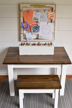 47 ideas for diy kids art table pottery barn Kids Art Table, Kids Craft Tables, Kids Bench, Kid Table, Western Furniture, Shabby Chic Furniture, Kids Furniture, Rustic Furniture, Farmhouse Furniture