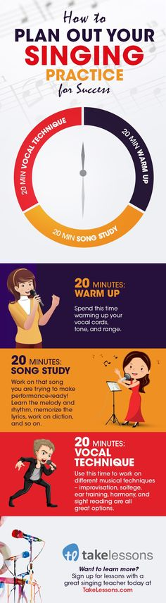 How the Best Singers Structure Their Singing Practice [Infographic] http://takelessons.com/blog/singing-practice-routine-z02?utm_source=social&utm_medium=blog&utm_campaign=pinterest