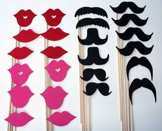 lips and moustaches on a stick
