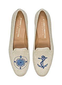 b88eeb2693b Stubbs   Wooton slippers en lin et coton marin