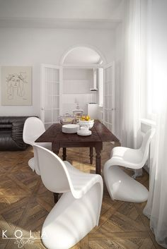 Eclectic dining room in a townhouse. Visualization inspired by photograph. Tags: classic furniture, panton vitra chair, parquet