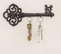 Decorative Wall Mounted Hanging Key Holder 3 Hooks Rustic Cast Iron Home Decor #DecorativeWallMounted #Vintage