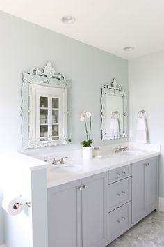 Wall paint color: Sea Salt by Sherwin-Williams Bathroom cabinets: Coventry Gray by Benjamin Moore Studio McGee See more bathroom paint colors See more gray paint colors See more paint colors for ca… Grey Cabinets, Bathroom Cabinets, Shaker Cabinets, Benjamin Moore Coventry Gray, Sea Salt Sherwin Williams, Gray Vanity, Favorite Paint Colors, Bathroom Paint Colors, Cool Mirrors