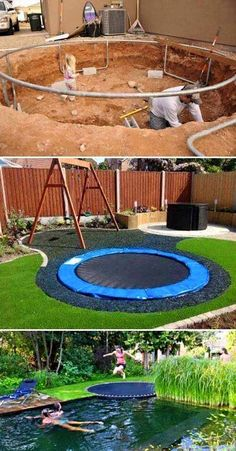 15 cool and affordable projects for a childs play area Hinterhof Garten Outdoor Spaces, Outdoor Living, Outdoor Decor, Outdoor Projects, Home Projects, Sewing Projects, Backyard Landscaping, Backyard Designs, Landscaping Ideas
