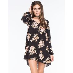 CALIFORNIA GYPSY Open Back Floral Swing Dress ($30) ❤ liked on Polyvore featuring dresses, black combo, open back dress, tent dress, flower print dress, v-neck dresses and v neck dress