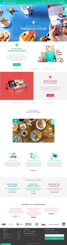 Discover the world through food! Our boxes are filled with authentic gourmet food and snacks curated by expert chefs and produced by local artisans. Coffee Restaurants, Restaurant Website, Creative Web Design, Snack Box, Website Designs, Website Design Inspiration, Ui Ux, Website Template, Gourmet Recipes