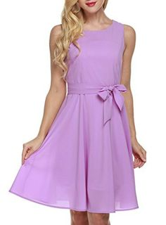 OURS Women's Summer Sleeveless Chiffon Pleated Cocktail Party Dress With Belt (S, Purple)