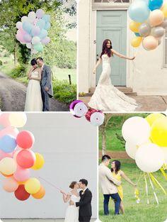 Ramilletes de globos en bodas - via blog.fiestafacil.com / Festive balloon bunches in weddings - via blog.fiestafacil.com