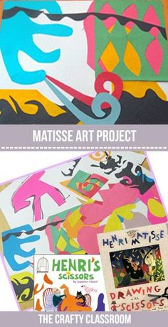 Henri Matisse was a printmaker, a sculptor and most notably a painter from France. Matisse created paintings that were bursting with ex. Matisse Cutouts, Matisse Art, Henri Matisse, Projects For Kids, Art Projects, Crafts For Kids, Drawing For Kids, Art For Kids, Montessori Art