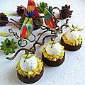 Recette pour 4 tartelettes de 8 cm de diamètre Composition: Pâte sablée cacao Crème d'amande ananas coco Confit d'ananas Chantilly...