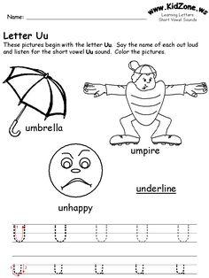 learning letters worksheet- u