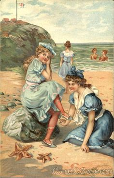 Vintage postcard of bathing beauties, early 1900s.  04.   ~ When Postcards Were the Social Network