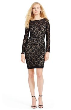 Free shipping and returns on Lauren Ralph Lauren Lace Sheath Dress at Nordstrom.com. Diagonal mesh banding visually whittles the waist while alluring floral lace patterns this fully-fashioned dress.