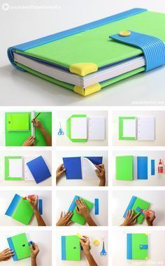 Ready to make school exciting with these DIY notebook decorating ideas? Use these ideas for your notebooks & make school a fun affair for yourself and your kids. Foam Crafts, Diy And Crafts, Crafts For Kids, Paper Crafts, Notebook Diy, Notebook Cover Design, Quick Diy Decorations, Diary Book, Book Binding