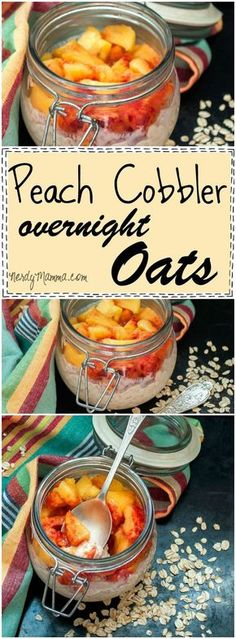 Oh, this recipe for Peach Cobbler Overnight Oats is so awesome. I love how easy this is! Maybe you should just go on and enjoy this recipe for the Peach Cobbler Overnight Oats. It's kind of the best thing I've eaten this week. Breakfast On The Go, Breakfast Time, Breakfast Recipes, Breakfast Fruit, Breakfast Ideas, Breakfast Smoothies, Mexican Breakfast, Breakfast Sandwiches, Breakfast Pizza