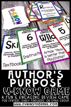 This engaging review activity is perfect for practicing author's purpose.  This game is great to use for early finishers, literacy centers