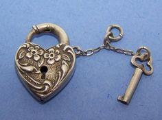 "Vintage Sterling Silver Puffy Heart Charm Lock & Key Antique ""FDD"""