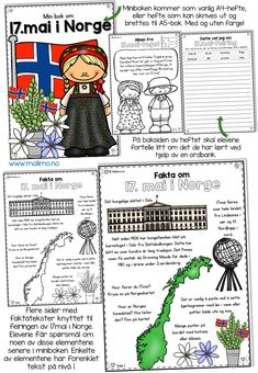17. Mai, Sons Of Norway, Teaching Kids, Coloring Books, Free Printables, Scandinavian, Diy And Crafts, Education, Comics