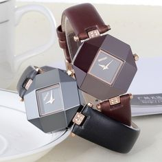 Luxury PU Leather Waterproof Irregular Shape Quartz Watch ($37) ❤ liked on Polyvore featuring jewelry and watches
