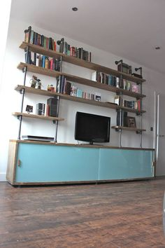 Bespoke, Made to Measure, Reclaimed Scaffolding Board Storage Unit with Painted Glass Sliding Doors and Dark Steel Supported Shelving Above.Everything we do is made to order and because I design and make everything myself with my super fab team we can easily accommodate any design requirements you might have... just contact me for a chat... pretty much all of my listings are a result of other client's requests so prices are indicative of a bespoke product - the price won't dramaticall...