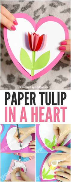 Tulip in a heart card Valentine& Day crafts for kids . - Tulip in a heart card Valentine& Day crafts for kids … – - Valentines Bricolage, Valentine Day Crafts, Holiday Crafts, Kids Valentines, Cute Valentines Day Cards, Valentines Day Hearts, Valentine's Day Crafts For Kids, Diy For Kids, Fun Crafts