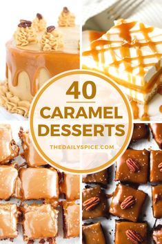 40 Delicious and sweet caramel dessert recipes you have to try making at home, including yummy salted caramel recipes! Sugar Free Desserts, Desserts To Make, Homemade Desserts, Sweets Recipes, Sweet Desserts, Candy Recipes, Delicious Desserts, Mini Desserts, Caramel Treats