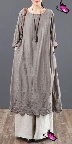 Vintage Pure Color Cotton Linen Maxi Dresses For Women 6091<br> Trendy Dresses, Simple Dresses, Casual Dresses, Awesome Dresses, Hijab Fashion, Boho Fashion, Fashion Dresses, Beautiful Dress Designs, Linen Dresses
