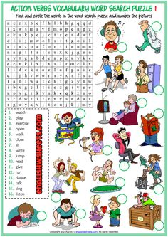 Fun ESL printable word search puzzle worksheets with pictures for kids to study and practise action verbs vocabulary. Find and circle the action verbs vocabulary in the word search puzzle and number the pictures. sets of word search puzzle worksheets) Teach English To Kids, English Activities For Kids, Learn English, English Worksheets For Kids, Vocabulary Worksheets, Printable Worksheets, Verbs For Kids, Verb Games, Presente Simple