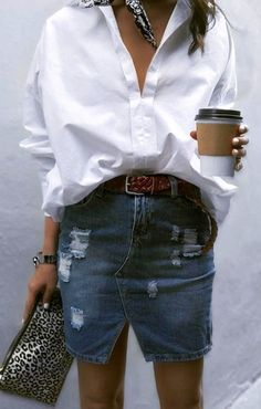 summer outfits White Shirt + Ripped Denim Skirt
